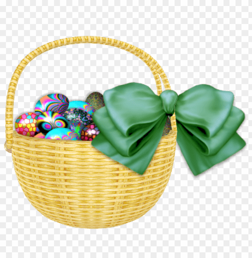 free PNG Download easter basket with green ribbon png images background PNG images transparent