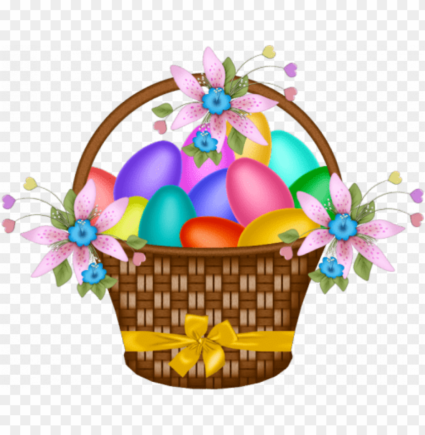 free PNG Download easter basket with yellow ribbon png images background PNG images transparent