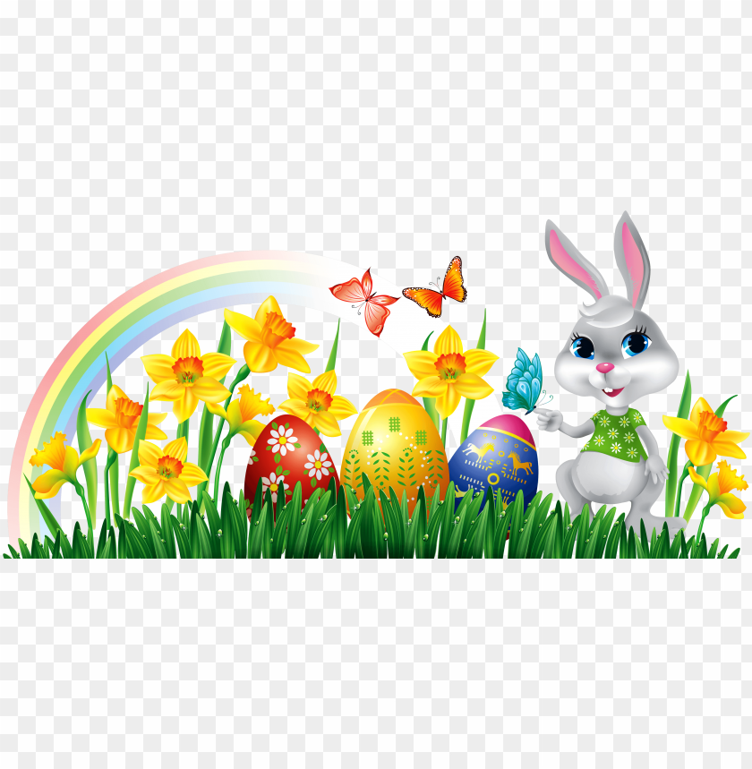 free PNG easter bunny with eggs clipart free border - easter bunny with eggs clipart PNG image with transparent background PNG images transparent