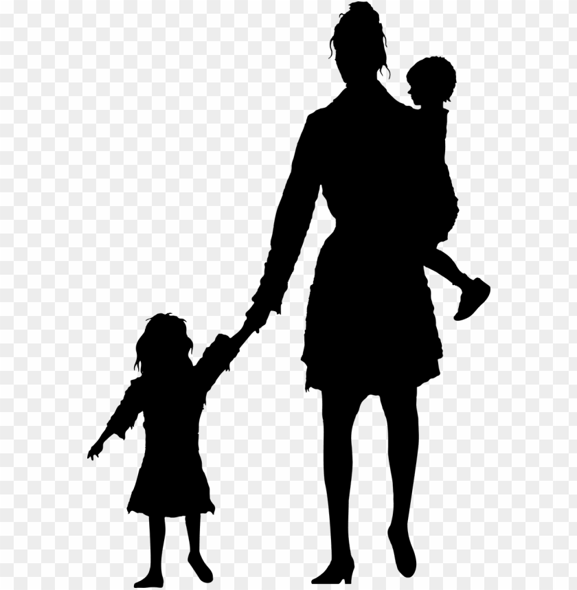 free PNG eople walking away silhouette png - child and mother silhouette PNG image with transparent background PNG images transparent