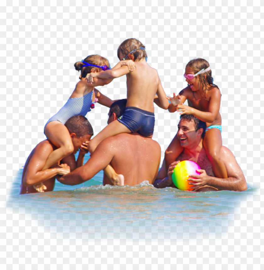 family play in paralia katerini beach - people at beach PNG image with transparent background@toppng.com