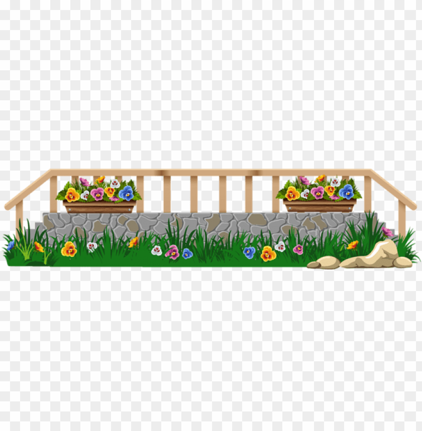Download Fence With Grass And Flowers Png Clipar Clipart Png Photo
