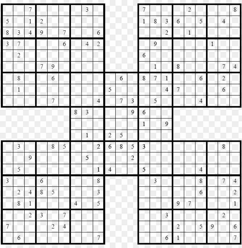 photo relating to Sudoku Samurai Printable referred to as history - samurai-sudoku - significant sudoku printable PNG impression with