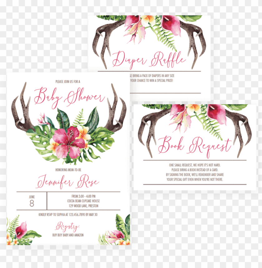 Floral Antler Baby Shower Invitation Set Download By