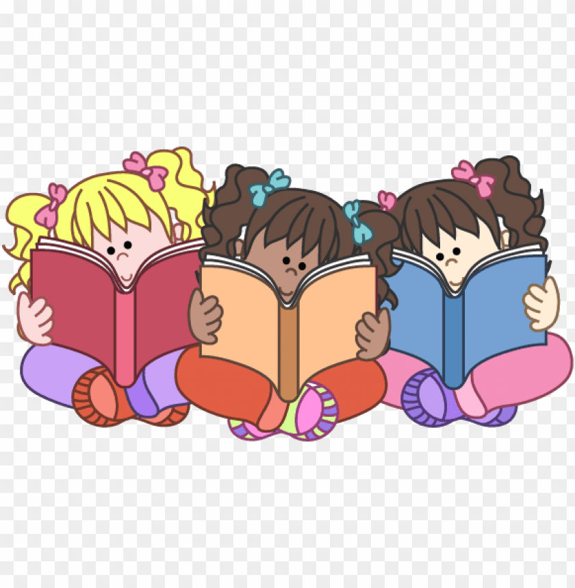 Free Children Read The Books Clipart Image Kids Reading