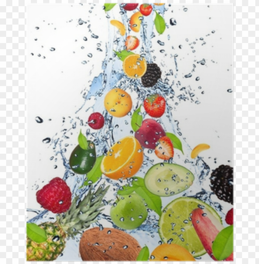 free PNG fruits falling in water splash, isolated on white background - fruit and water hd PNG image with transparent background PNG images transparent