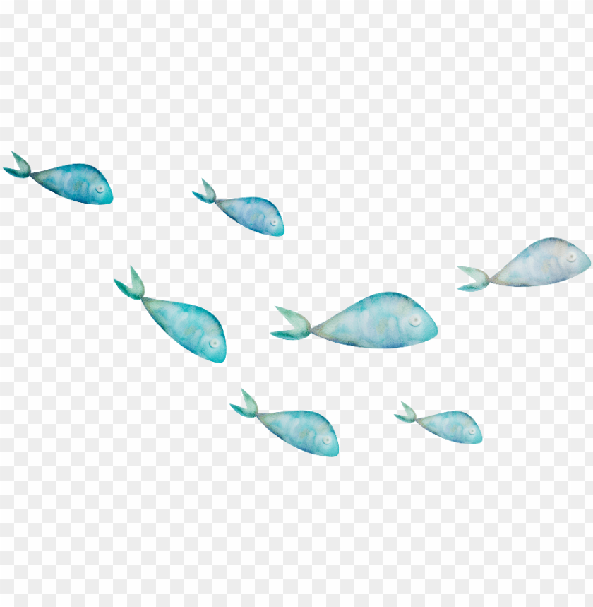 Ftestickers Fish Watercolor Blue School Fish Png Image With Transparent Background Toppng