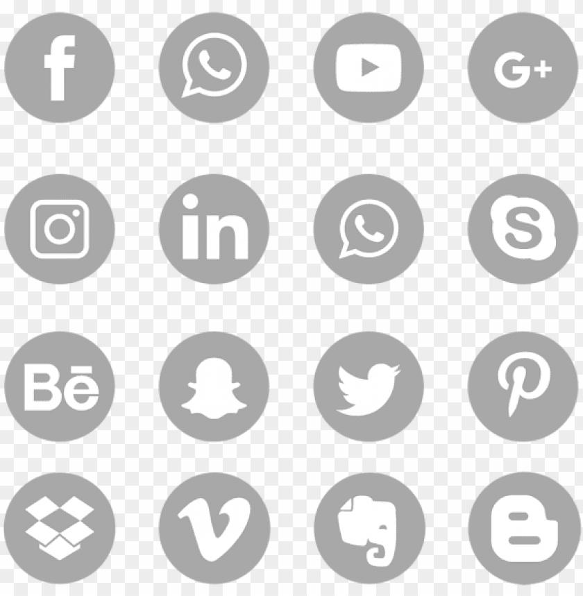 gray social media icons set logo symbol, social, media