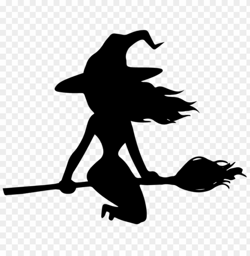 free PNG halloween witch on broom silhouette PNG images transparent
