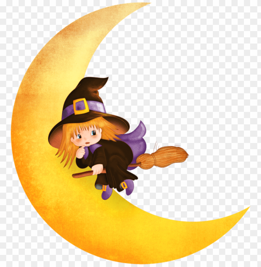 free PNG Download halloween witch on the moon png images background PNG images transparent