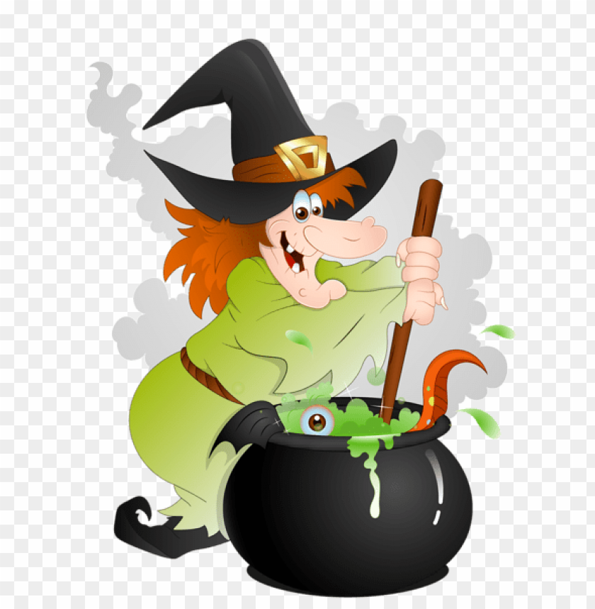 free PNG halloween witch with cauldron PNG images transparent