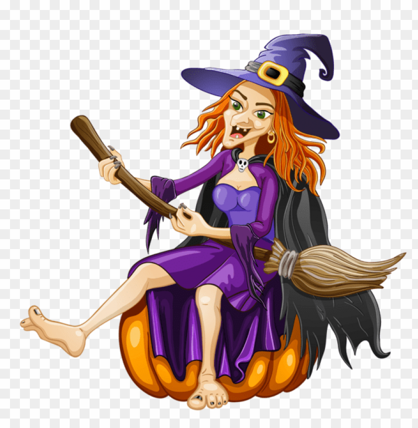 free PNG halloween witch with pumpkin PNG images transparent