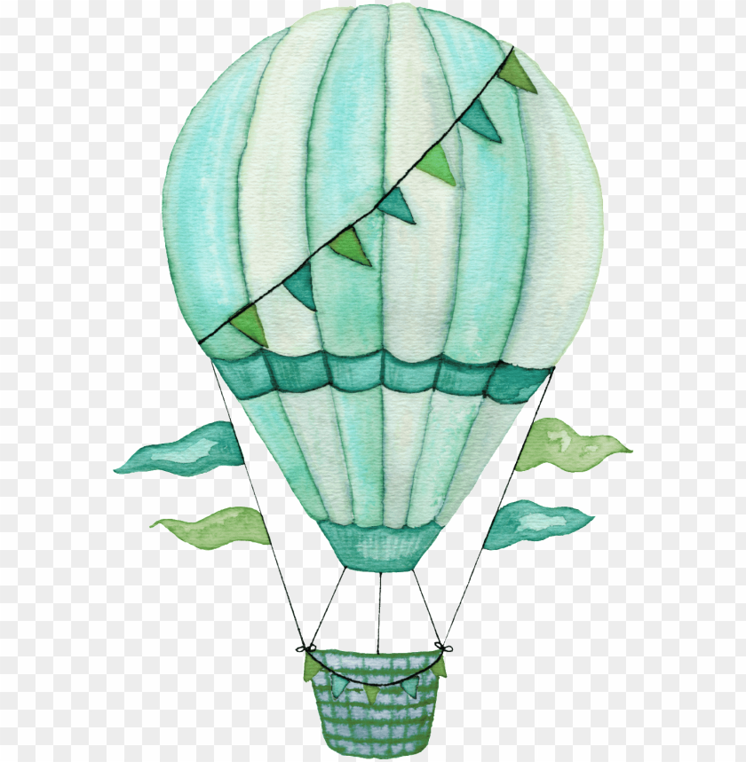 free PNG hand painted blue hot air balloon png transparent - hot air balloon watercolor transparent PNG image with transparent background PNG images transparent