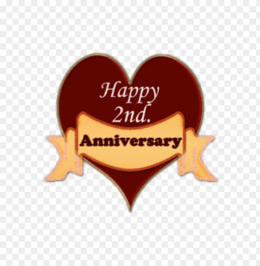 happy 2nd anniversary heart PNG image with transparent