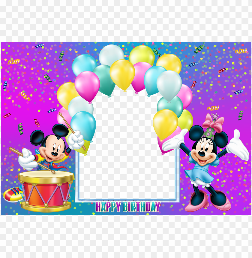 Happy Birthday Mickey Mouse Transparent Kids Frame Png Free Png