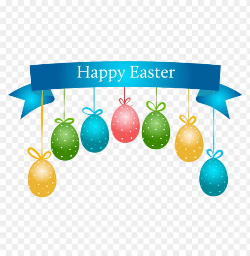 free PNG Download happy easter banner with hanging eggs transparent png images background PNG images transparent