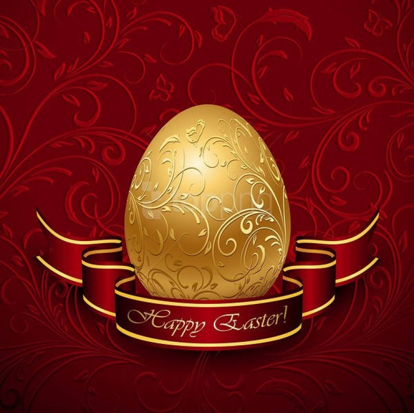 free PNG happy easter with gold egg red background best stock photos PNG images transparent
