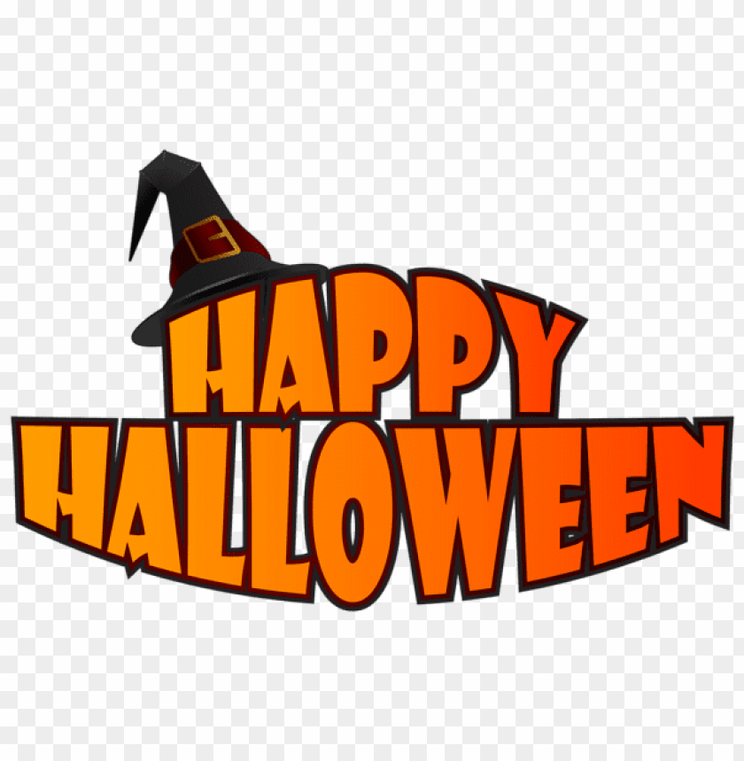 free PNG happy halloween with witch hat PNG images transparent