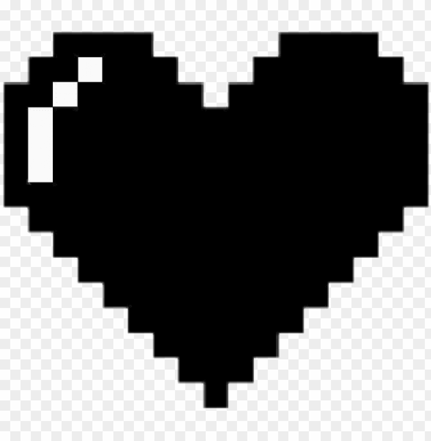 Heart Black Dark Heart Minecraft Black 8 Bit Heart Png Image