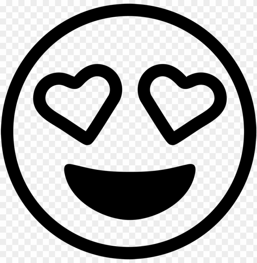 heart eyes emoji rubber stamp - black and white love emoji PNG image