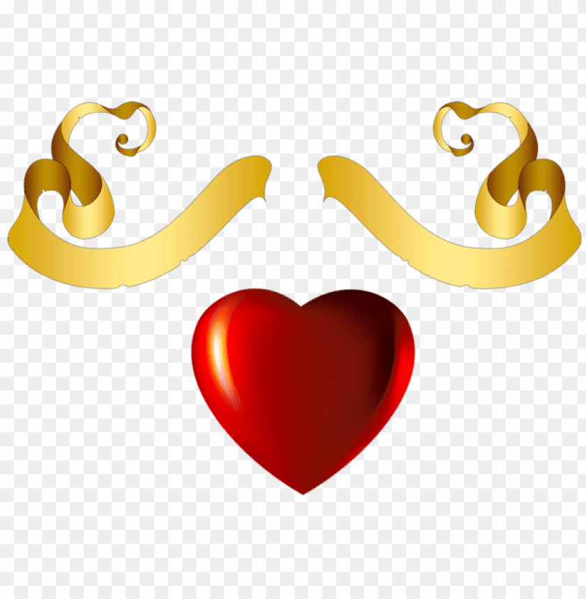 Heart With Gold Banner Element Png Free Png Images Toppng