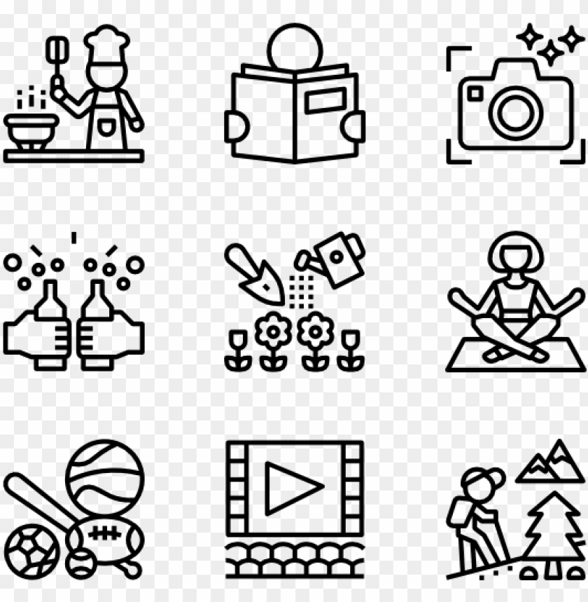 hobbies 36 icons - design vector icon png - Free PNG Images