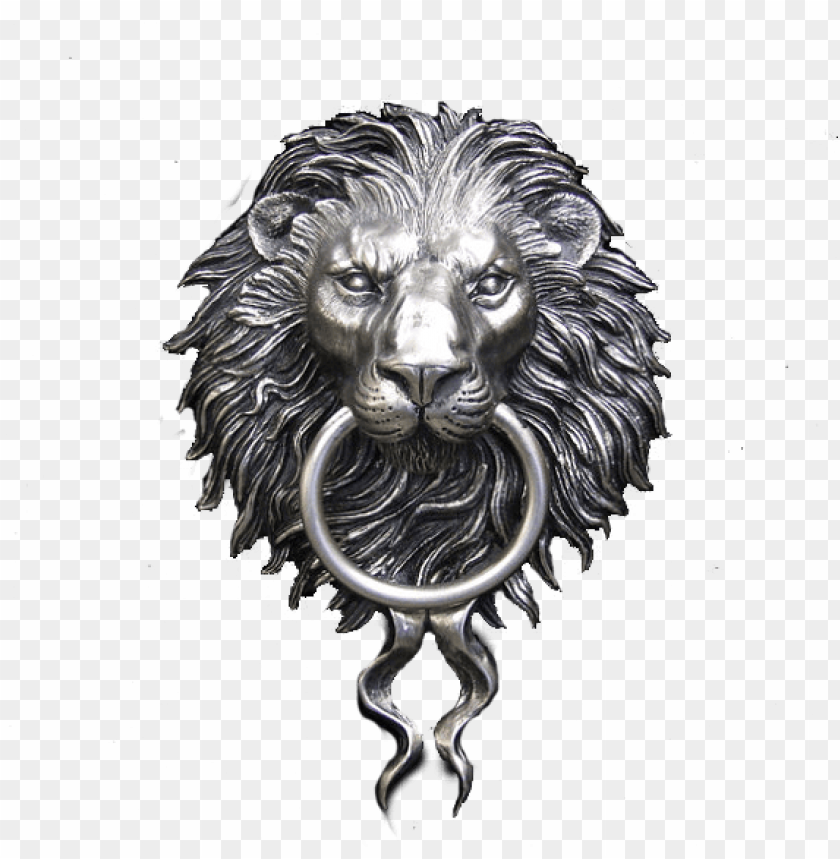 Ickel Plated Lion Head Door Knocker Png Image With
