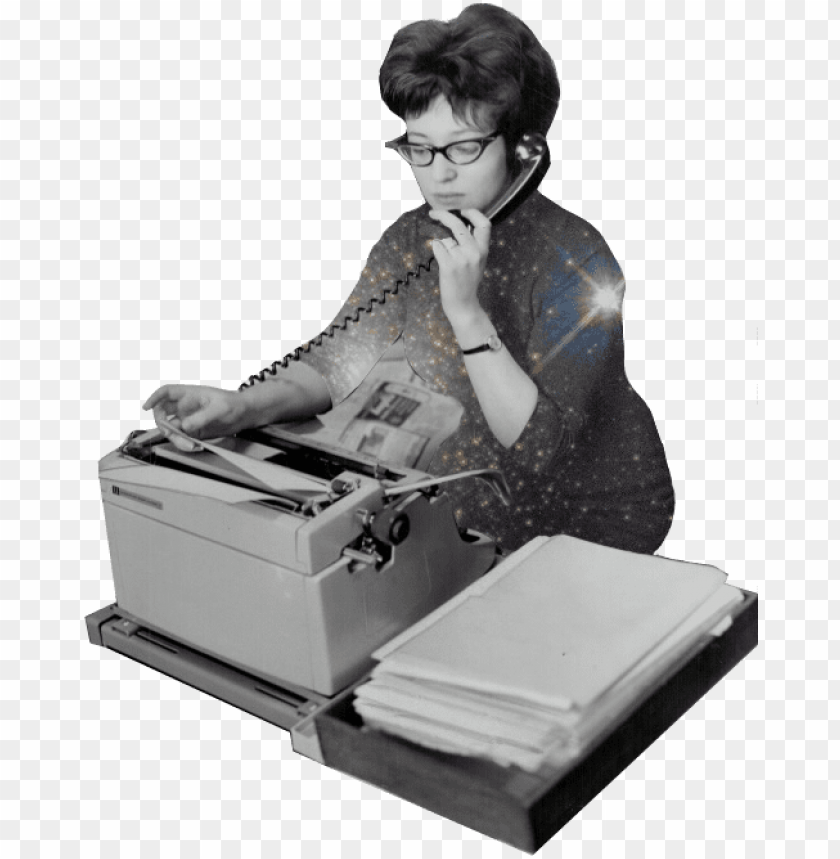 free PNG illustration of old-timey secretary answering the phone - illustratio PNG image with transparent background PNG images transparent