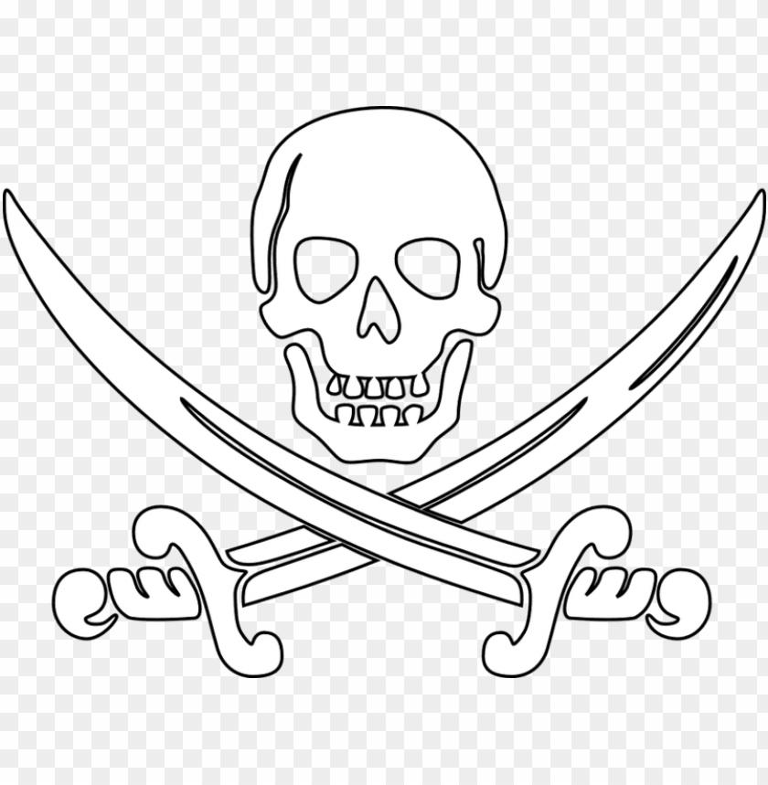 Irate Skull Outline Sword Ausmalbilder Totenkopf Pirat