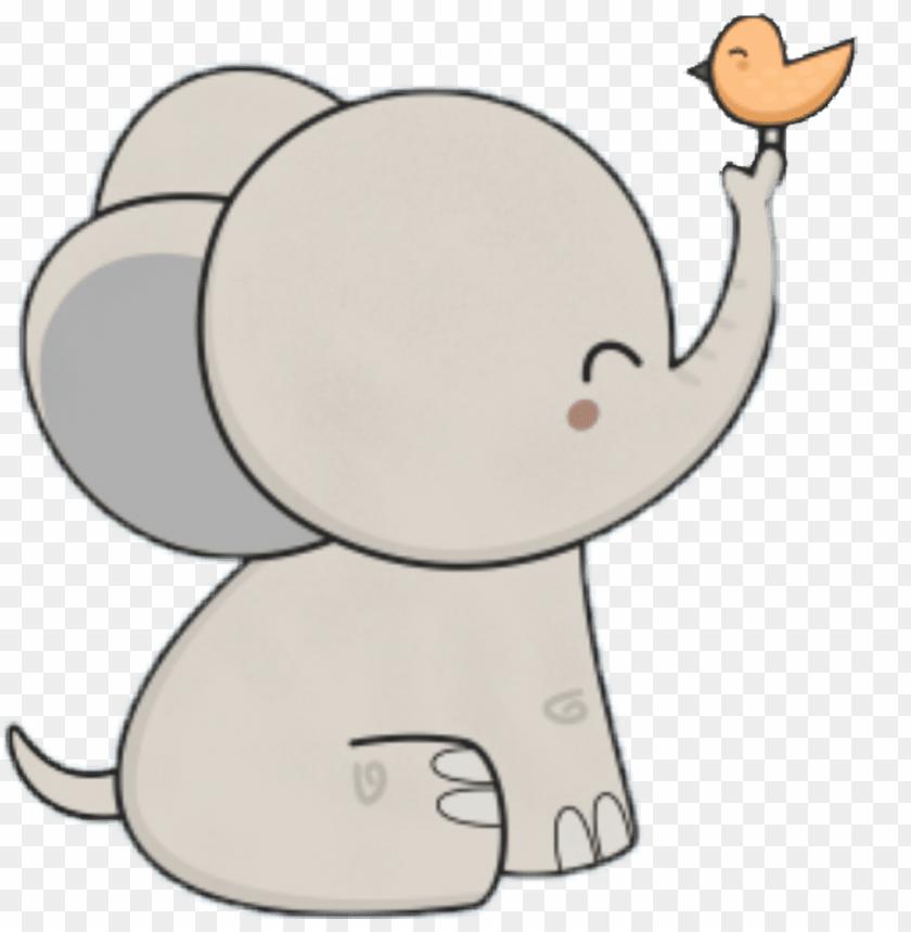 Kawaii Cute Cartoon Elephant Png Image With Transparent