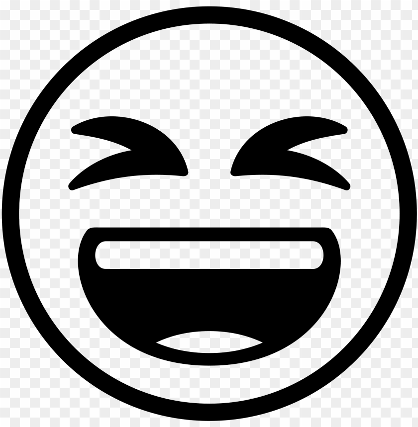 laugh emoji black and white PNG image with transparent