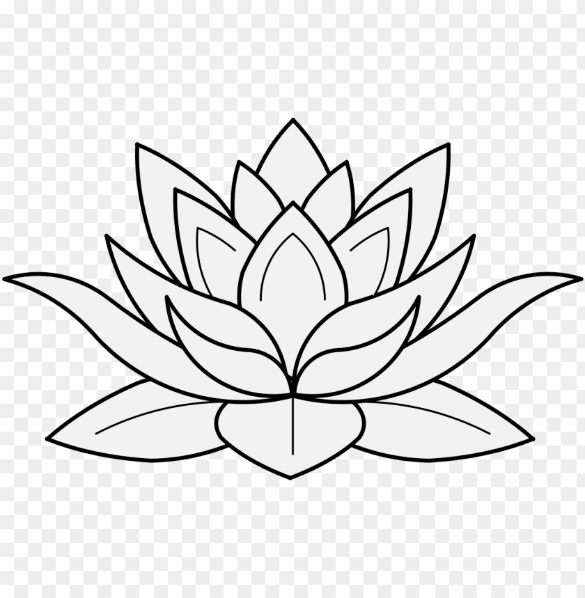 Lotus Flower In Profile Lotus Flower Black And White Png