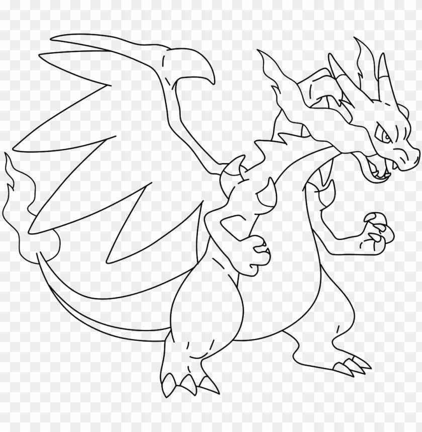 Mega Charizard Drawing Mega Charizard X Colori Png Image With