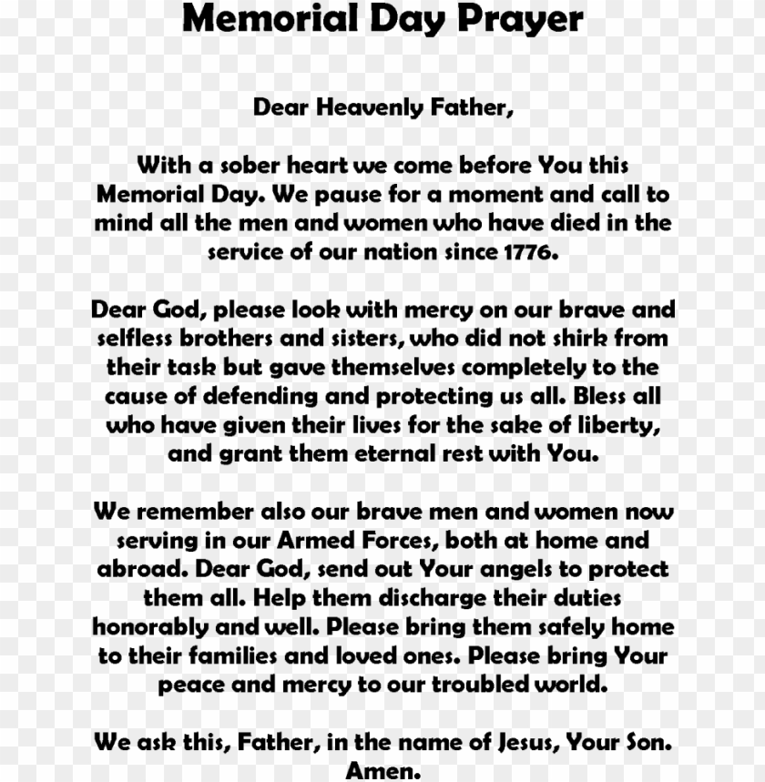 memorial day poems - memorial day prayer PNG image with transparent