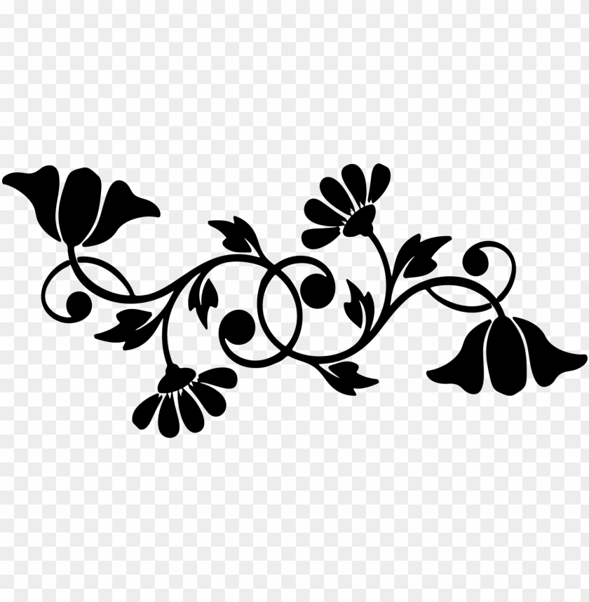 free PNG motif floral design decorative borders silhouette computer - black and white flower silhouette clip art PNG image with transparent background PNG images transparent
