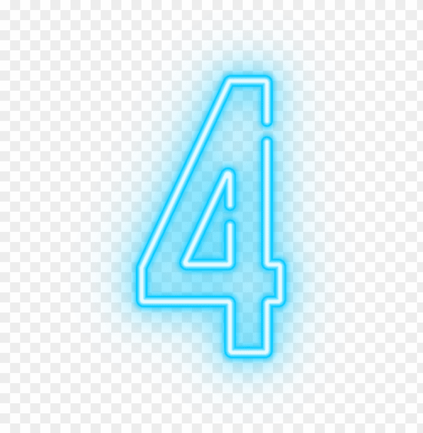 Download neon number four transparent clipart png photo | TOPpng