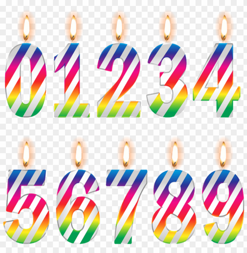 Free PNG Download Numbers Birthday Candles Png Images Background Transparent
