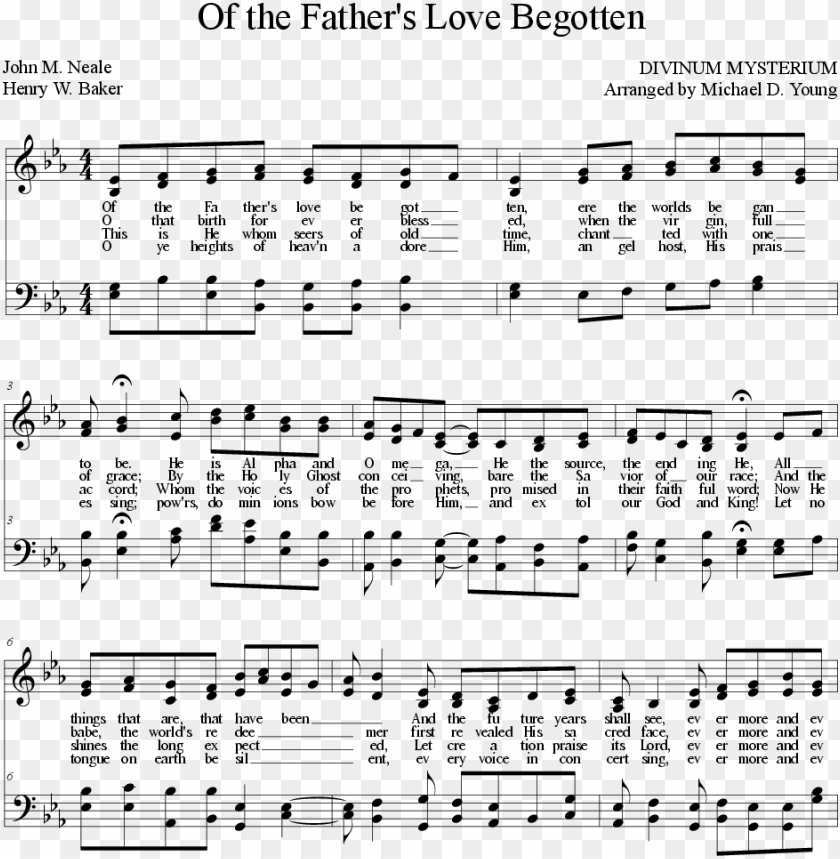 free PNG of the father's love begotten - sheet music PNG image with transparent background PNG images transparent