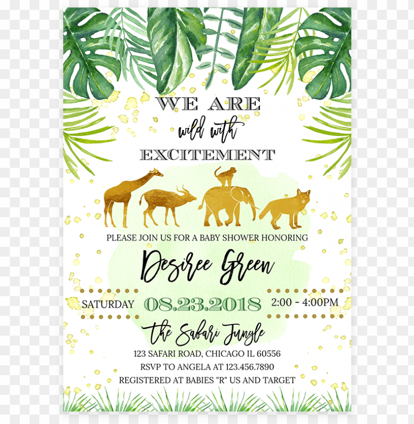 picture relating to Printable Safari Animals referred to as outdated safari pets youngster shower invitation printable - gold