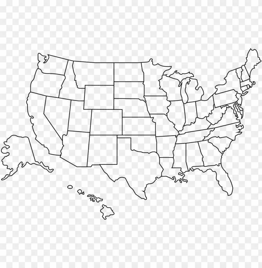 outline of the united states - blank us map high resolutio PNG image ...