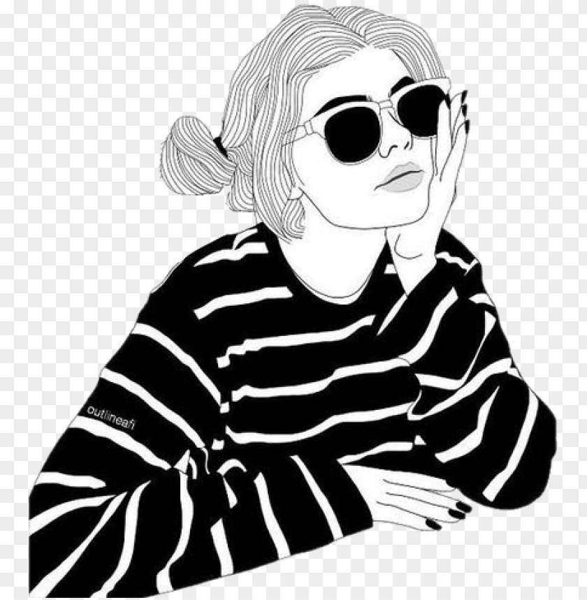 Outline Tumblr Girl Black White Overlay Sun Summer Outline