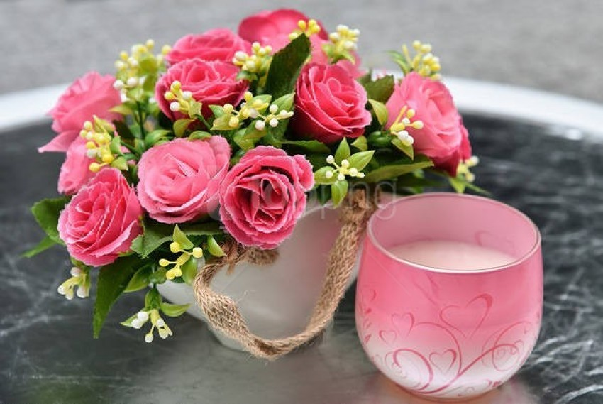 free PNG pink flowers and candle background best stock photos PNG images transparent