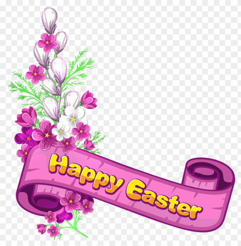 free PNG Download pink happy easter banner and flowers png images background PNG images transparent