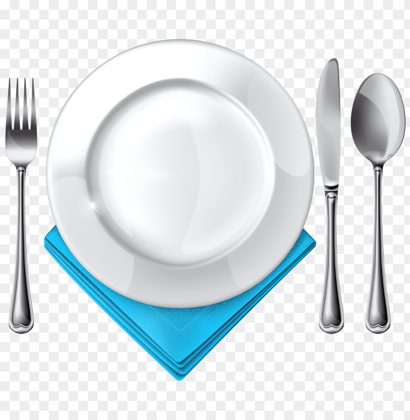 free png plate spoon knife fork and blue napkin PNG images transparent