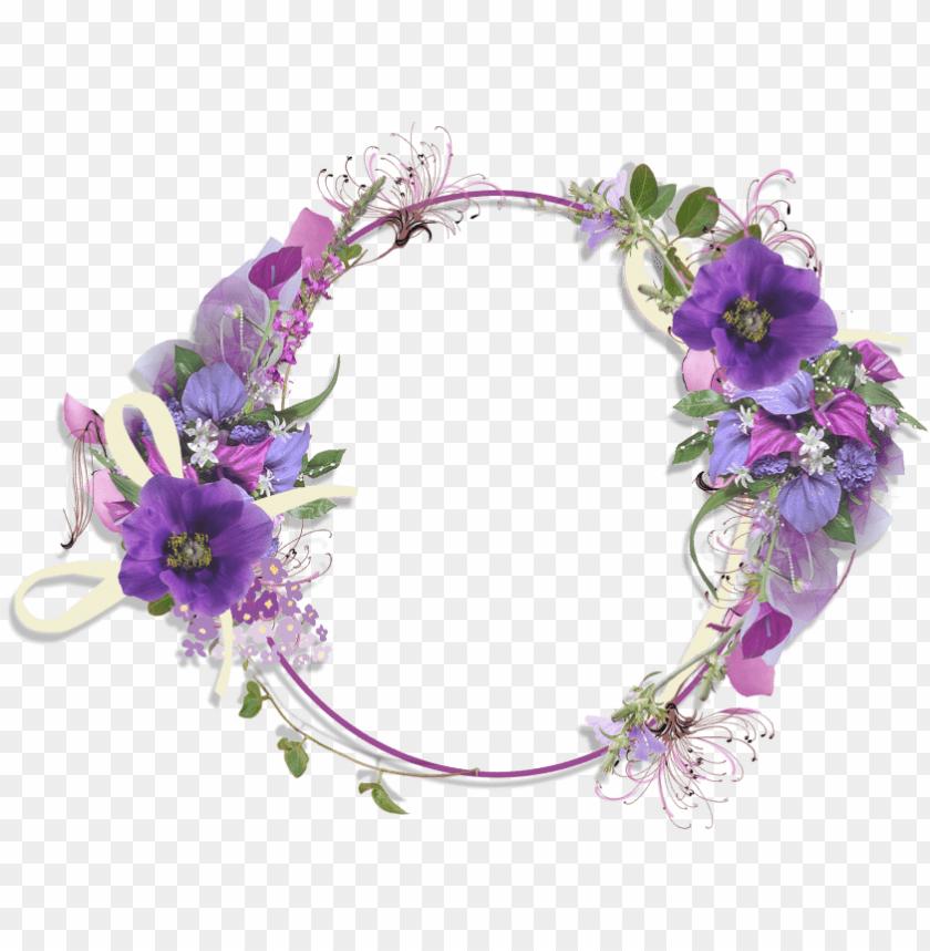 Transparent Elegant Purple Flower Border