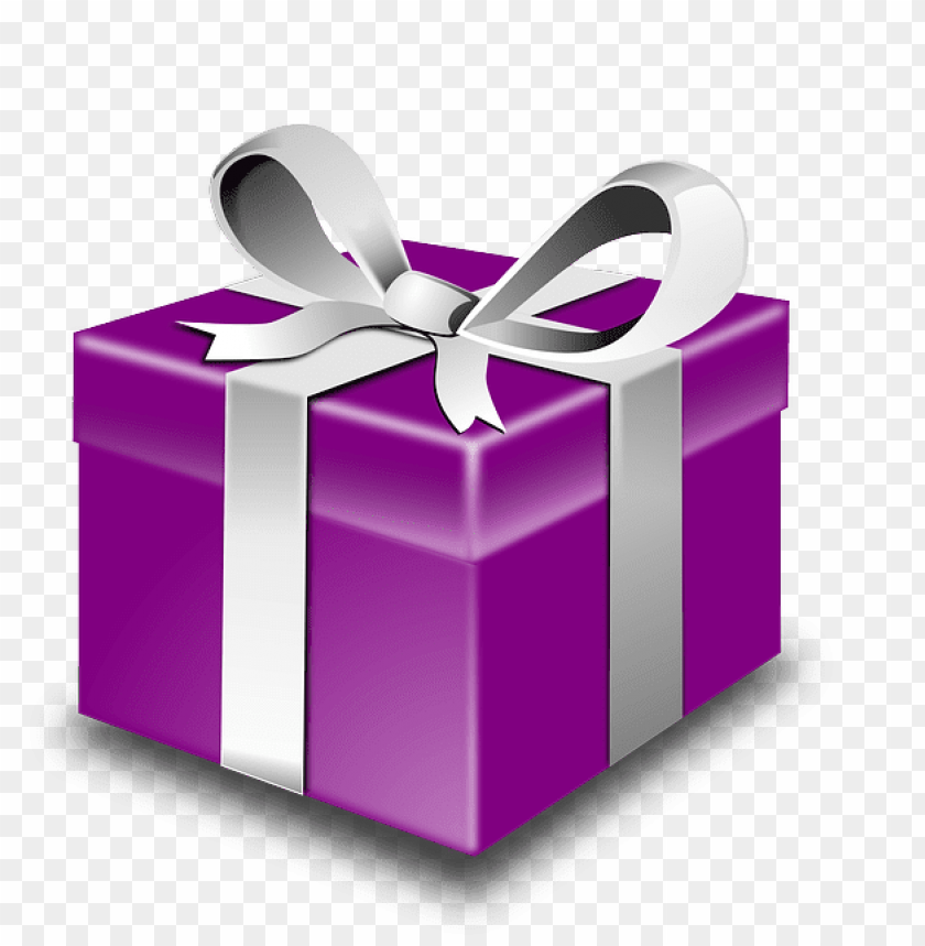 free PNG purple gift box with silver ribbon PNG image with transparent background PNG images transparent