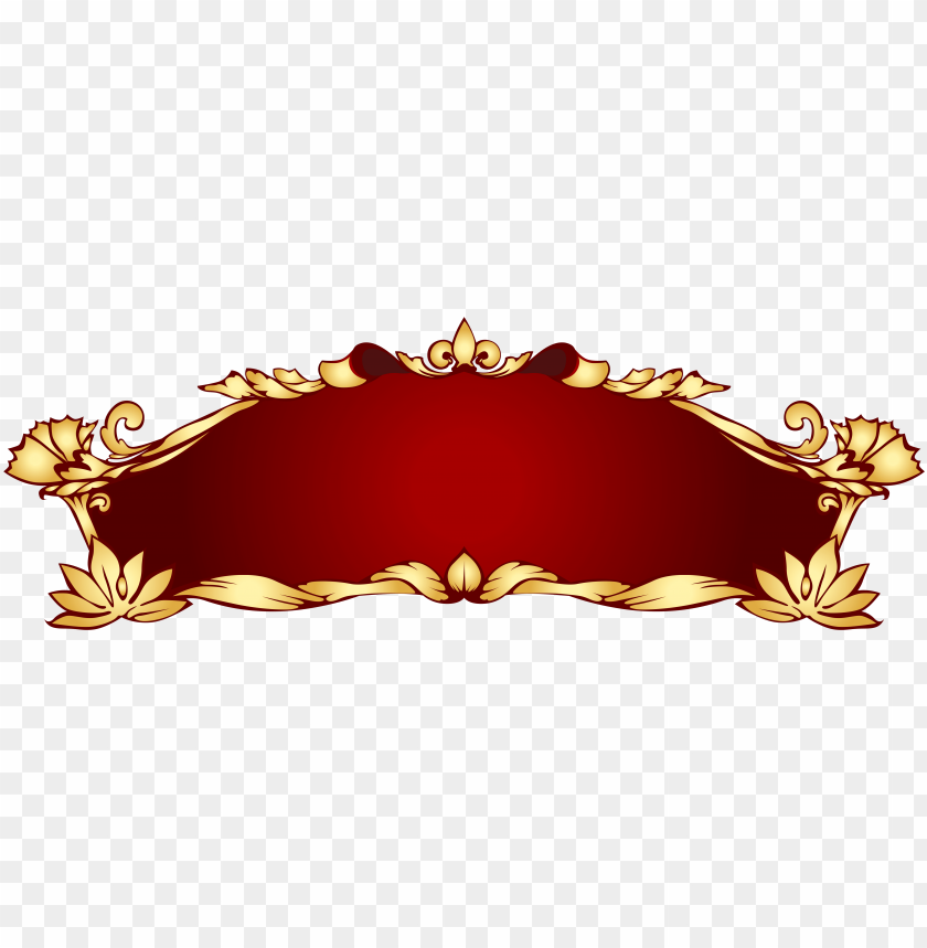 free PNG red gold art nouveau banner png - golden banner PNG image with transparent background PNG images transparent