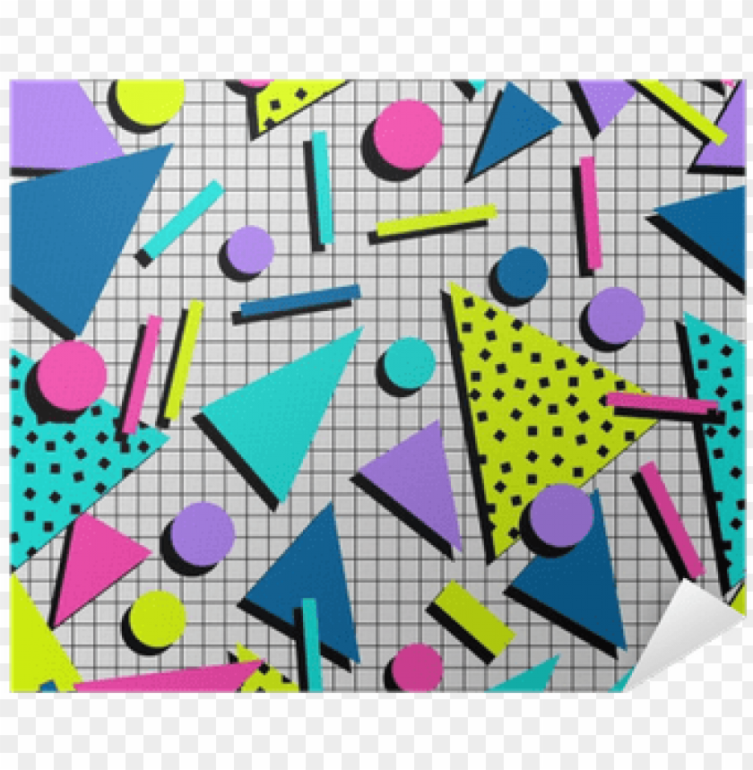 retro 80s seamless pattern background poster • pixers