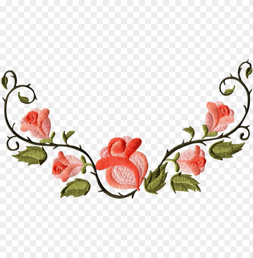 rose floral pattern border PNG image with transparent