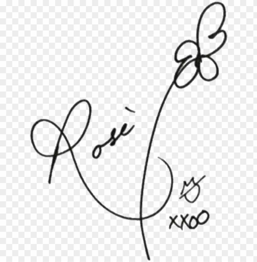 rosé's signature - rose blackpink signature PNG image with